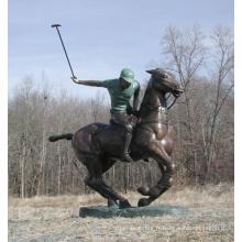 Statue de joueur de Polo en bronze HVLA-163R