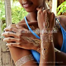 Etiqueta engomada metálica del tatuaje del cuerpo del oro y de la plata del best seller del mercado B2B