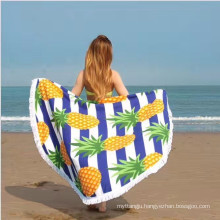 Microfiber suede round beach towel with mesh bag