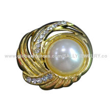 2014 Fashion Imitation Pearl Wedding Brooch with Pin, Made of Alloy and Rhinestones