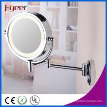 Espejo de maquillaje montado en la pared lateral doble de Fyeer con la luz del LED