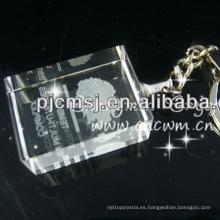 Llavero cristalino hecho a mano vendedor caliente del laser del LED 3d