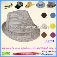 Sombrero de paja de papel de la naturaleza del 100% rayado llano caliente vendido caliente, LSP23