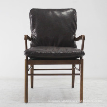 Wooden Furniture Classical Solid Wood Sofa Chair with Leather