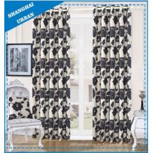 Cortina de ventana del poliéster floral negro de la decoración casera