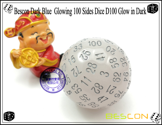 Bescon Dark Blue Glowing 100 Sides Dice D100 Glow in Dark-1
