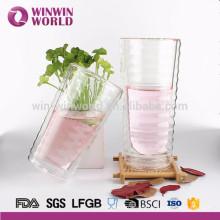 Taza de vidrio aislante Taza de vidrio de doble capa Taza resistente al calor con una tapa de vidrio para infundir café, leche, té, etc.