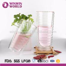 Copo de isolamento de dupla camada caneca de vidro resistente ao calor copo com uma tampa de vidro para infusão de café, leite, chá, etc