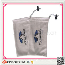 Microfiber Pouch/Bag for Optical Products with Drawstring and Bead