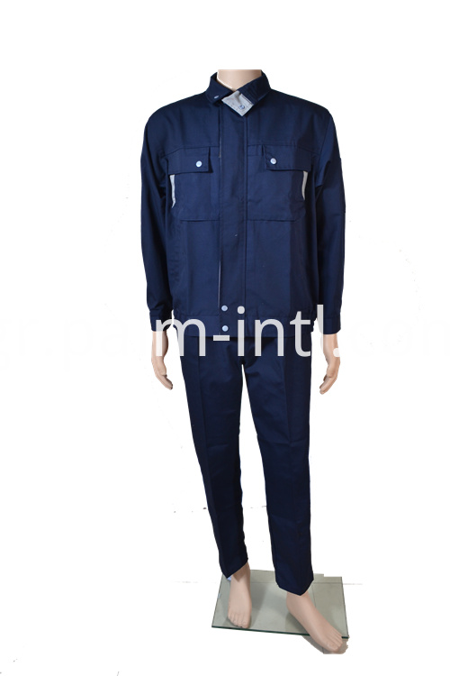Dark Blue Polyester Cotton Suit