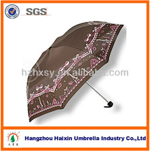 Three folding fancy umbrella with rubber round handle