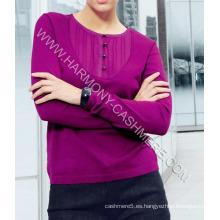 Jersey de cachemira con botones y cuello redondo para mujer