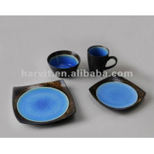 Pottery Square 16pcs Blue Reactive Glaze Dinner Set
