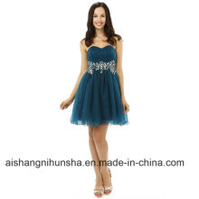 A-Line Sweetheart Short Mini Cristaux Perles Organza Robe De Bal De Cocktail