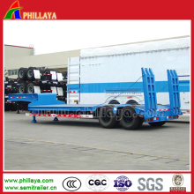 Double Axles Lowbed Truck Semi Trailer with Air Suspension