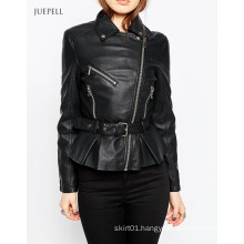 PU Leather Bike Sport Women Jacket with Pep Hem and Belt