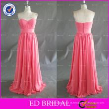 ED Charming Elegant Sweetheart Decote Ruffle Chiffon Long Dress da dama de honra 2017