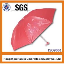 Entwerfen Sie Ihren eigenen roten fördernden faltenden Regenschirm mit Logo-Drucken