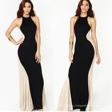 Сексуальная без бретелек сплайсинга черный женский макси свадебное платье 2015