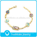 TKB-JB0052 Religious gold with polished epoxy cross Virgin Mary christ child 316L stainless steel bracelets