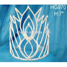 El tiaras del rhinestone del tiaras del pelo del pavo real cristalina la corona 2015 de la boda la nueva corona de la manera del diseño
