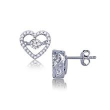 Brincos de percussão de coração 925 Jóias de diamante de dança de prata