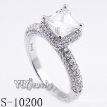 Fashion Fancy Rhodium Plated CZ Ring with 925 Silver (S-10200)