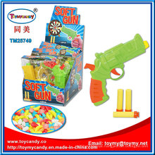 Plastic Press Soft Gun Toy with Candy