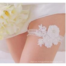 Liga atractiva nupcial elegante de la pierna de las mujeres de la liga para la boda Liga blanca del satén de la muchacha