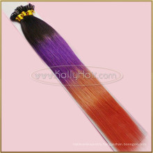 Colored Three Tone Black/Burgundy/Yellow Ombre Hair Straight U Tip Hair Extension