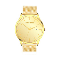 gold bands steel case mesh band watch