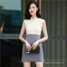 Cashmere knitting clothing Vintage stand collar sleeveless slim fit silk Cheong-sam dress