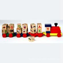 Train éducatif en jouet en bois avec blocs d'alphabet