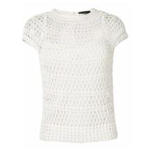 Camisola de alças branca de crochê para mulheres