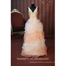 EN STOCK Hombro-correas vestido de fiesta de las mujeres de cuello v ventilador plisados vestido de fiesta SE99