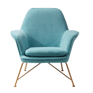 Cheap luxury decorative living room furniture armchair velvet leather cover metal frame accent chair