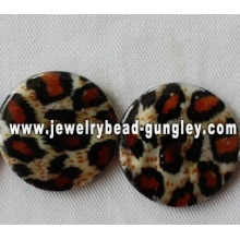 leopard print style freshwater shell beads