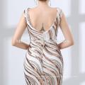 2018 largo diseño por encargo piso longitud lentejuelas vestido de noche elegante