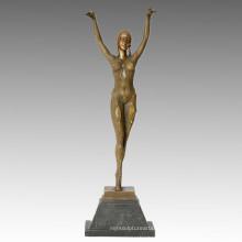 Danseuse Bronze Jardin Sculpture Rétro Décoration fille Statue en laiton TPE-040 (J)