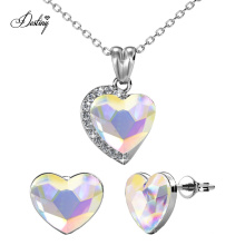 12 Colors Heart Shape Wholesale Pendant and Earrings Set with High Quality Crystal