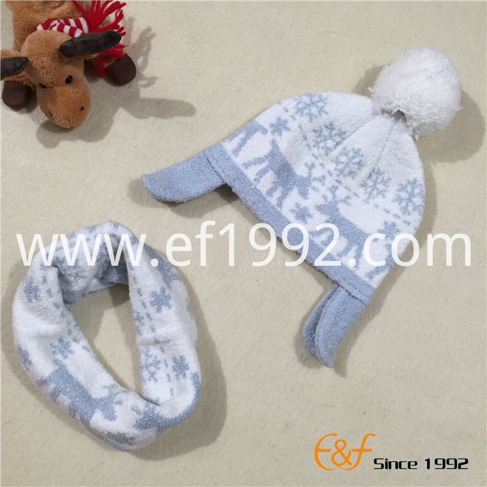 children jacquard knitted hat neckpiece set