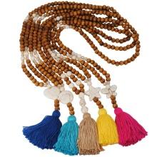 Vintage natural round wooden bead long sweater Chain Necklace Handmade Cross Star Bohemian tassel pendant women's jewelry