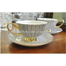 Haute qualité, nouvelle conception, à micro-ondes, fin, chêne, porcelaine, céramique, thé, thé, tasse, soucoupe, ensemble
