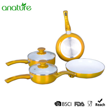 Pressed Ceramic Metallic Coating Kitchen Cookware Sets
