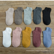 candy color women's no show cotton ankle socks