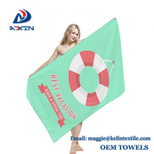 Promotional gift quick dry 70x150cm suede microfiber printed beach towel