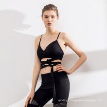 Fashion Stitching Slim Fitness Women Yoga Suit Pants Sports Bra Sportswear Set