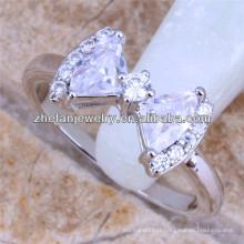 bowknot anel anel de diamante doces novo design senhoras anel de dedo