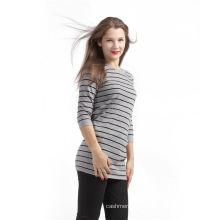 Лучшие цены отличное качество черный полосой шаблон чистый кашемир свитер