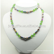 Fashion Hematite Wrap With Green Glass Beads